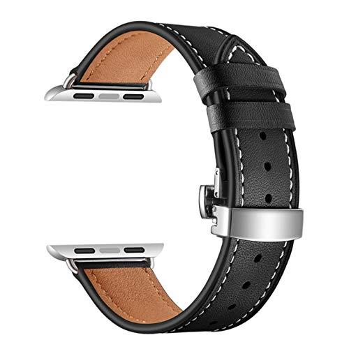 Para Apple Watch Band Reloj de cuero genuino Apple Watch 6 5 4 31 SE Correa de cierre de mariposa para iWatch 44mm 40mm 4 38