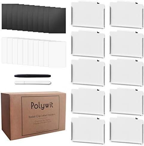 Pantry Basket Labels Clip on for Storage Bins with 20 Label Cards Kitchen Bin Chalkboard Label product image