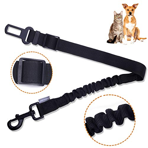 Vivaglory Dog Seat Belt Clip, Heavy Duty & Elastic & Durable Dog Car Harness, Adjustable Puppy Safety Belt for Most Cars, Size M for Small & Medium Dogs