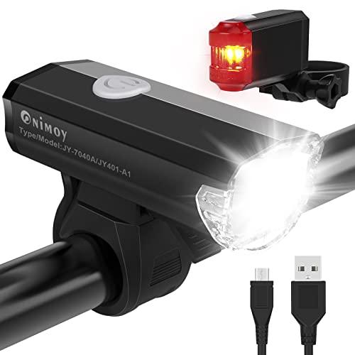 Onimoy Fahrradlicht Set STVZO Zugelassen LED Fahrradbeleuchtung, Aluminium USB Wiederaufladbare Fahrrad Lichter LED Set, IPX6 Wasserdicht, Fahrrad Frontlicht & Rücklicht Set für Camping Radfahren