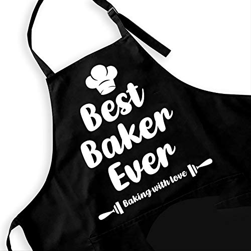 Ihopes Funny Black Apron for Women Men - Best Baker Ever - Cute Kitchen Chef Apron with 2 Pockets and Adjustable Neck Strap - Perfect for Birthday/Christmas/Thanksgiving, Large