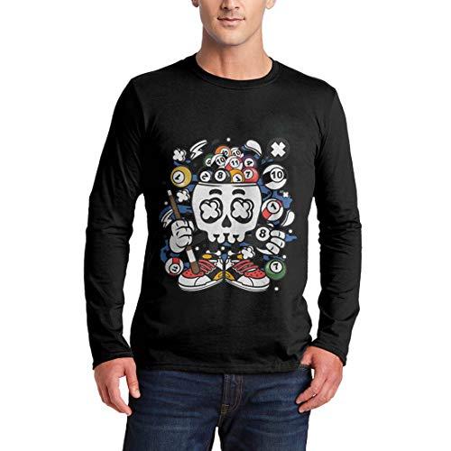 C025MLSTB Herren Langarm T-Shirt Billiard Skull Sport Snooker Pool Master World Cue 8 Ball Table Classic Vintage(Medium,Black)