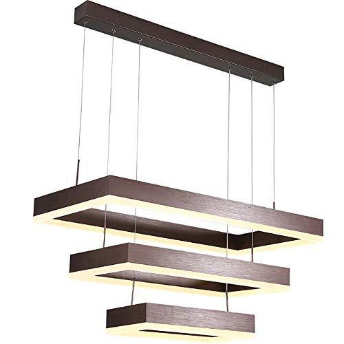 Lampe à suspension LED Lampe de salle à manger de salon Dimmable Moderne Rectangulaire à 3 Flammes Design Lustre Table à manger Luminaire Appartement Éclairage en Aluminium Acrylique Lumineux
