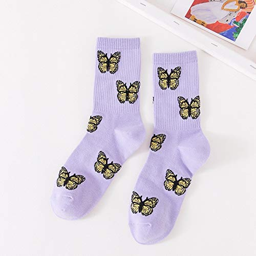2 Pares de nuevos Calcetines de Mariposa Mujer Streetwear Crew Kawaii a Rayas Moda Tobillo Divertido algodón Bordado expresión-Style 1-EUR 35-40