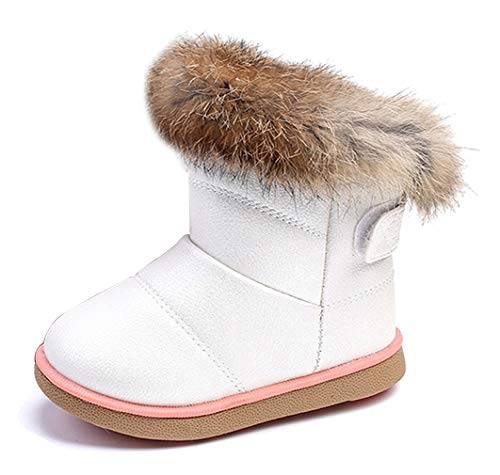 KVbabby Kids Winter Warm Snow Boots Girl's Fur Lined Boots Toddler PU Leather Waterproof Boot White
