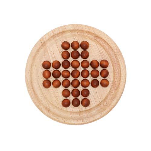 NUOBESTY 1 juego de mesa solitario de madera con canicas de madera,...