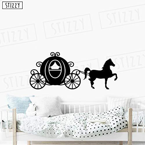 Tianpengyuanshuai fotobehang prinses wagen vinyl muursticker kinderkamer slaapkamer decoratie meisje babykamer afneembaar