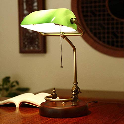 Led-leeslampje Retro massief houten tafellamp Studeertafel Werk lezen Groene landelijke slaapkamer Nachtkastje