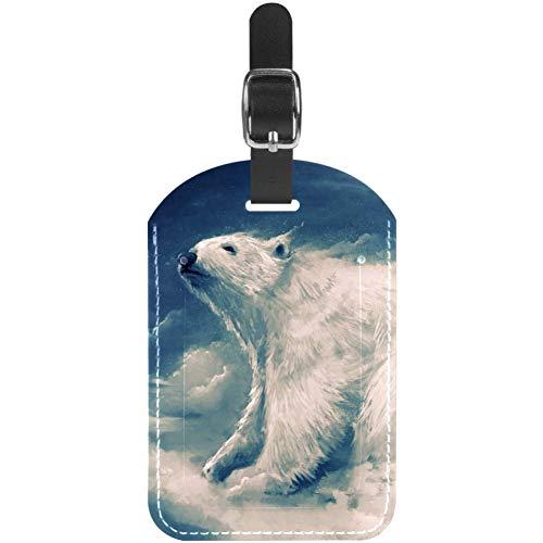 Etiquetas de equipaje de piel con diseño de oso polar en nubes para maleta de viaje, 1 paquete