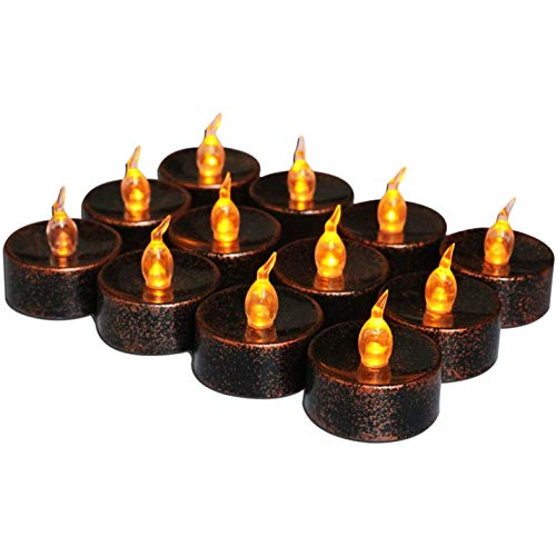 Ctzrzyt 12 PCS Cobre Negro LED Candelitas Amarillo Parpadeante Funciona con Pilas Velas Sin Llama Luces Parpadeo áMbar para Fiesta de Halloween Decoraciones para el Hogar Fiesta