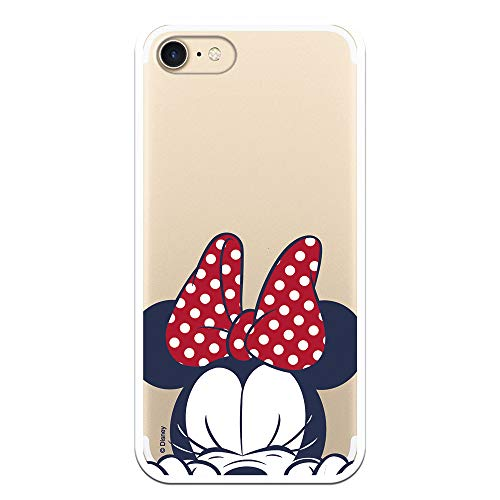 Funda para iPhone 7 - iPhone 8 Oficial de Clásicos Disney Minnie Cara para Proteger tu móvil. Carcasa para Apple de Silicona Flexible con...