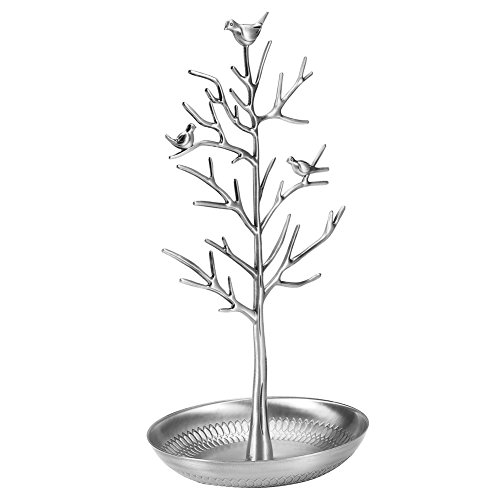 Qiterr Jewelry Display Stand, Metal Earring Rack Necklace Organizer Jewelry Holder Ornament Display Tree Stand(Silver)