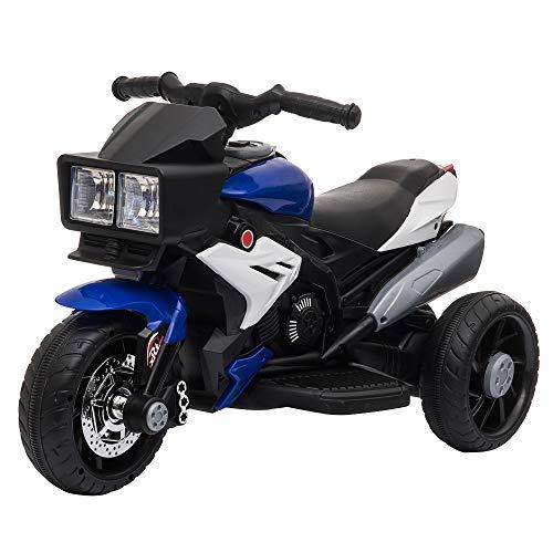 HOMCOM Elektrofahrzeug Kindermotorrad Kinderfahrzeug mit Musik und Beleuchtung Elektro-Dreirad mit Akku 3-6 Jahre Stahl Blau+Weiß 86x42x52 cm