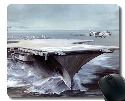 Yanteng Alfombrilla de ratón con Borde Cosido, portaequipajes USS Saratoga, Alfombrilla de Goma Antideslizante