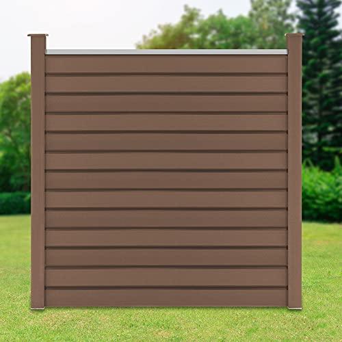 ML-Design WPC Sichtschutzzaun Komplettset, 1x Quadratelement aus 13 Paneele 170x175cm + 2x Pfosten 185cm, Braun, robust, zum aufschrauben, WPC-Zaun Gartenzaun Steckzaun Windschutzzaun Sichtschutzwand