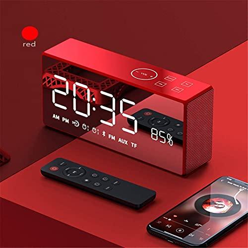 ワイヤレスBluetoothスピーカーの目覚まし時計、屋外の重いサブウーファーデジタルラジオ時計、高性能の損失のない音(青)