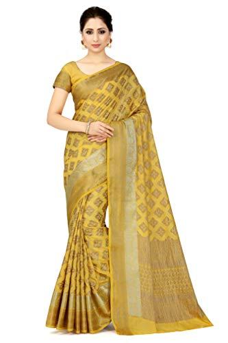 MIMOSA Women's Kanchipuram Art Silk Saree With Unstitched Blouse Piece (4583-2543-SD-LGLD_Yellow)