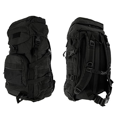 GOLAN 55L Water Resistant Tactical Military Army Rucksack Molle Backpack Camping Hiking Travel Hunting Fishing & Shooting Day 24-48 Hour Bug Out Bag (Tactical Black)