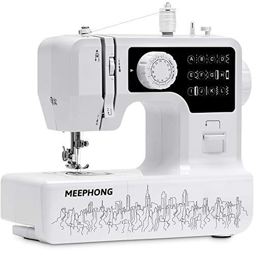 MEEPHONG Máquina de Coser Eléctrica Portátil,Automatica Muebles Multifuncional Maquina de Coser ,Adecuado Para Sewing Machine Para Principiantes Y NiñOs, Con Pedal,12 Needles,2 Speeds,Pedals,Negro