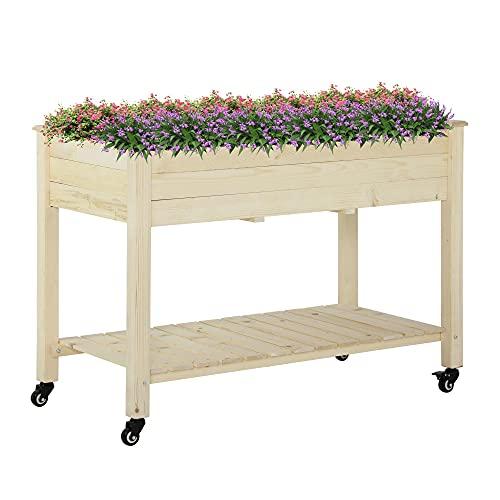 Outsunny Hochbeet mit rädern Pflanztisch Blumenkasten mit Abfluss Massivholz Vliesstoff Natur 118 x 55 x 83 cm