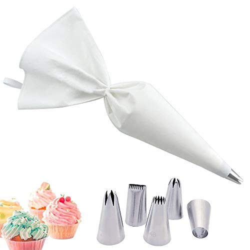 Ealicere Profi-Spritzbeutel-Set 40 cm, stabil, kochfeste Baumwolle, Innenbeschichtung,5 Edelstahl-Tüllen für Kuchen, Torten, Keksen-Dekoration, wiederverwendbar und spülmaschinengeeignet