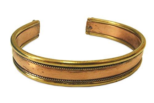 Schmuck Armreif aus Metall Kupfer Messing gewölbt, 2-Metall Armband Armschmuck Armreifen handgefertigt schlichtes Design