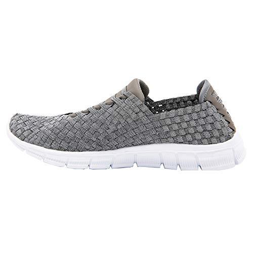 JWJ Women's Walking Shoes Athletic Slip on Comfort Breathable Memory Foam Lightweight Casual Woven Sneakers Flats,8 Pewter