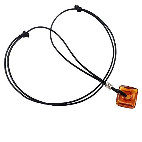sharprepublic Brown Square Glass Bottle Pendant Essential Oils Diffuser Necklace Chain