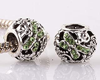 2pcs silver dragonfly green CZ spacer beads fit Charm European Bracelet AB961