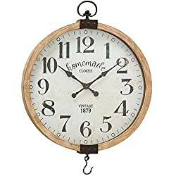 Iconic Farmers Wall Clock with Hook, Quartz Movement, Natural Wood Frame, Glass Cover, Vintage Iron Details, Reclaimed Battery Powered, Vintage Style, Over 2 Ft Diameter (29 1/2 Inches D)