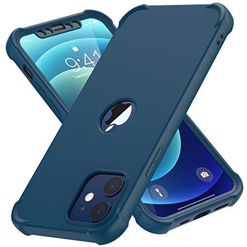 ORETECH Bumper Hülle Kompatibel mit iPhone 12 Mini, mit [2X Panzerglas Schutzfolie] 360 Stoßfest Militärischer Schutz Case Handyhülle Soft TPU Silikon Hard PC Schutzhülle für iPhone 12 Mini 5.4'-Blau
