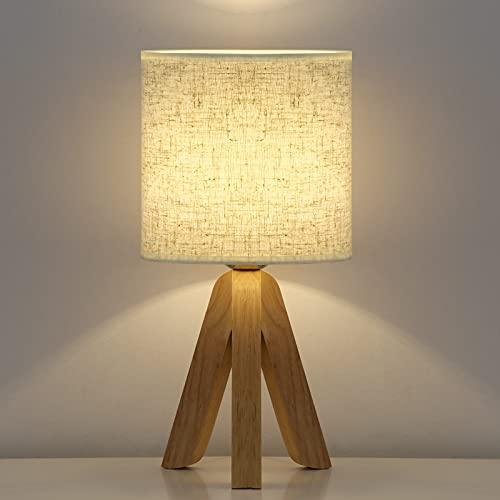 HAITRAL Mini lámpara de mesita de noche creativa de madera para dormitorio, sala de estar, oficina, pantalla de tela