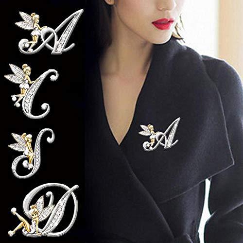 COJJ Broche de Elfo de Moda Broche de Letra Inglesa Broche de Diamante Femenino Accesorios de Vestir 5 Estilos
