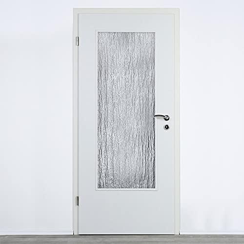 Glaseinsatz für Zimmertüren Silvit 4mm, ESG Lichtausschnitt Glas Silvit weiss SR 187 Verlasung (ESG 410 x 1420 mm)