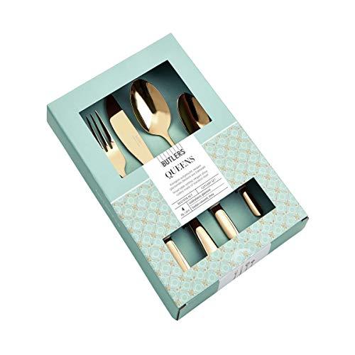 BUTLERS Queens Besteck 4er-Set - Hochwertige Besteckgarnitur Roségold - Besteckset aus Edelstahl mit Messer, Gabel, Löffeln