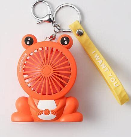 KACC Cartoon Unicorn Fans Rucksack Keychain Ladung im Freien Fans Tragbare Student Anhänger Space Capsule USB Lade Mini Fan (Farbe : Orange)