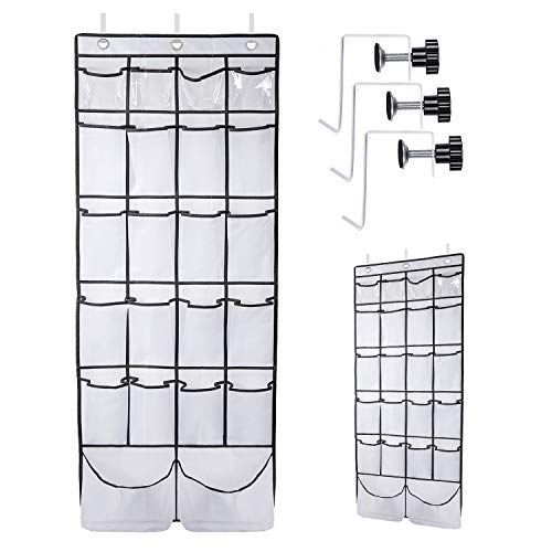 Over The Door Shoe Organizer ULG Hanging Shoe Holder with 22 Extra Large Pockets Hanging Shoe Organizer for Closet Bedroom Bathroom Kitchen White 1 Pack 62 x 21 inch