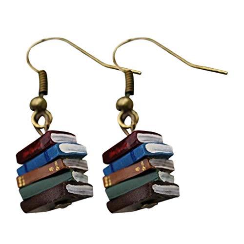 Pendientes de mujer, regalos de joyería vintage para chicas de moda, pendientes de libro de biblioteca vintage multicolor