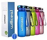 willceal Sport Trinkflasche, BPA Frei Tritan,1L (36oz), Premium Auslaufsicher Kunststoff Wasserflasche Sport, Sportflasche für Camping Freien, Radfahren, Wandern, Yoga, Gym und mehr (Blau, 1000ml)