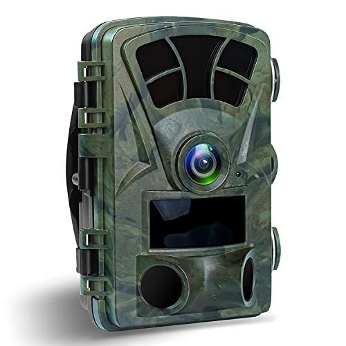 Trail Camera, 1080P 21 MP Game Camera for Hunting, Wildlife Camera with 3 Infrared Sensors Motion Activated Night Vision for Wildlife Monitoring,120° Wide Angle 0.2s Trigger Speed IP66 Water Resistant