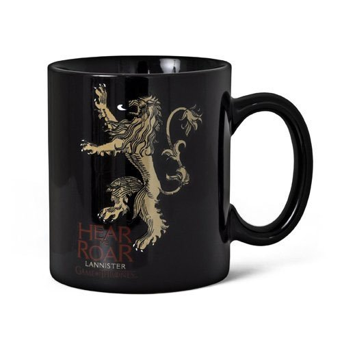 SD toys Game of Thrones Taza Hear Me Roar Lannister, cerámica, Negro, 10 cm