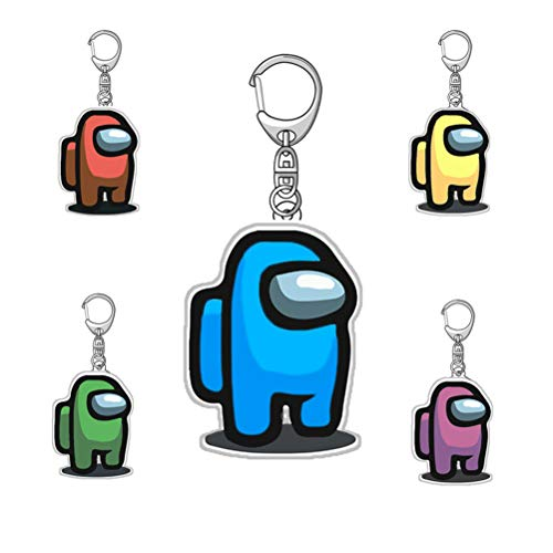 CaCaCook 5Pcs Among Us Keychain Set, PVC Keychains, Keychains for Kids, Keyring Pendant for Car Keys Bag Mobile Phone Backpack Accessories