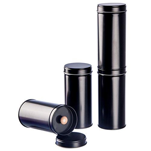 6 schmale Teedosen schwarz für losen Tee mit extra Aromadeckel inkl. Etiketten | stapelbar | Höhe: ca. 14 cm, Ø ca. 6,6 cm (für ca. 100g Tee) | Material: Weißblech | BPA-frei und lebensmittelecht