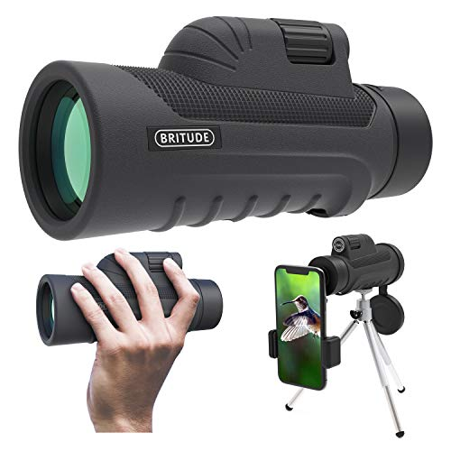 Monocular Telescope, 10x42 High Definition Monocular with Smartphone Adapter & Tripod, Waterproof Fog Proof Pocket Scope for Adults and Kids, FMC BAK4 Prism for Bird Watching Travelling Hunting