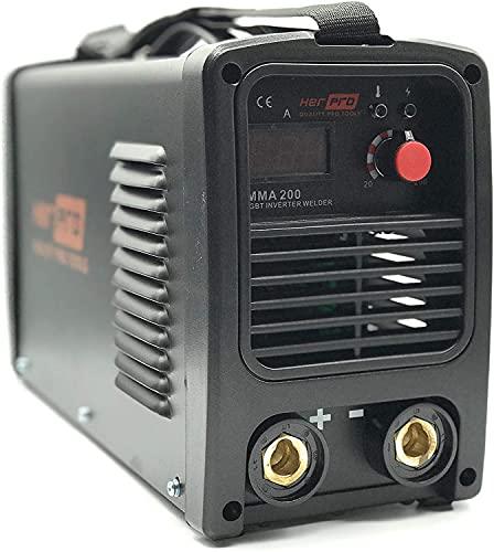 HERPRO MMA 200, Soldador inverter de 200 Amperos y 60% de factor de marcha para soldar electrodos hasta 4mm, Mangueras de 4 metros. HOT START, ANTI STICK, ARC FORCE, Válido para generador.