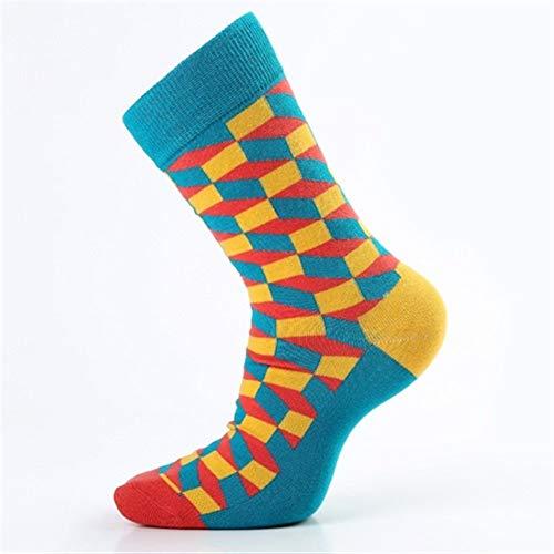 Chaussettes de compression 5 paires de chaussettes en coton for hommes Happy Socks Compression coloré diamant drôle chaussettes Formal hommes de grande taille 39-46 ( Color : Sky blue , Size : M )