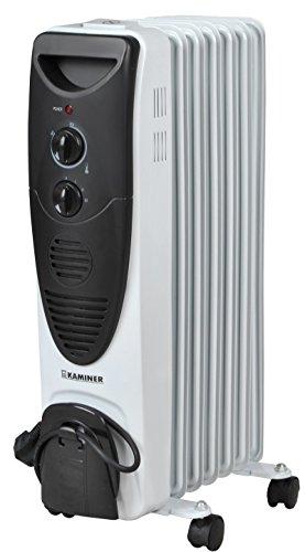 ISO TRADE Kaminer Ölradiator(1500Watt,3Heizstufen,Thermostat,7 Rippen,4 Lenkrollen) 2842