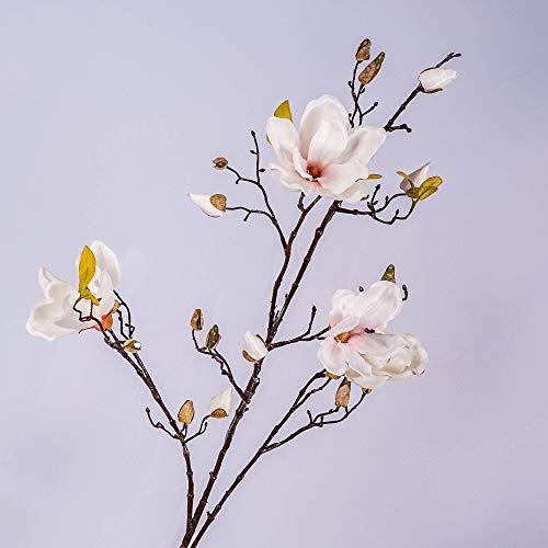 artplants.de Set 2 x Kunstblume Magnolienzweig LILO, 4 Blüten, Knospen, weiß - rosa, 110cm - 2 Stück Seidenblumen Magnolie - Kunstzweig