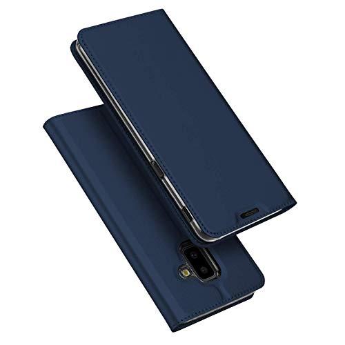 Verco Handyhülle für Galaxy J6+, Premium Handy Flip Cover für Samsung Galaxy J6 Plus Hülle [integr. Magnet] Book Case PU Leder Tasche, Blau