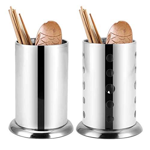 Lmbqye Besteckhalter, 2PCS Küchengerät Utensilienhalter, Edelstahl Küchengerät Organizer Besteck Caddy zum Organisieren von Schubladen und Arbeitsplatten für alle Küchen (Farbe: Silber)